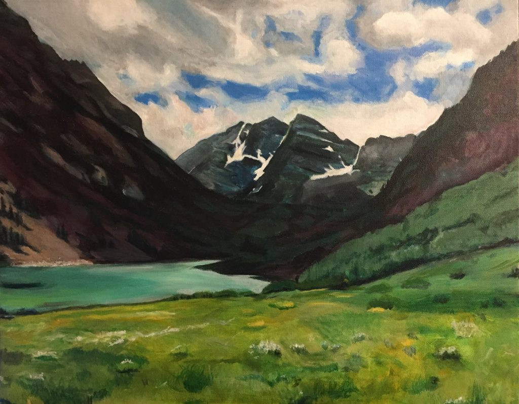 Maroon Bells, Acrylic on Canvas, Leah Prusiner Art