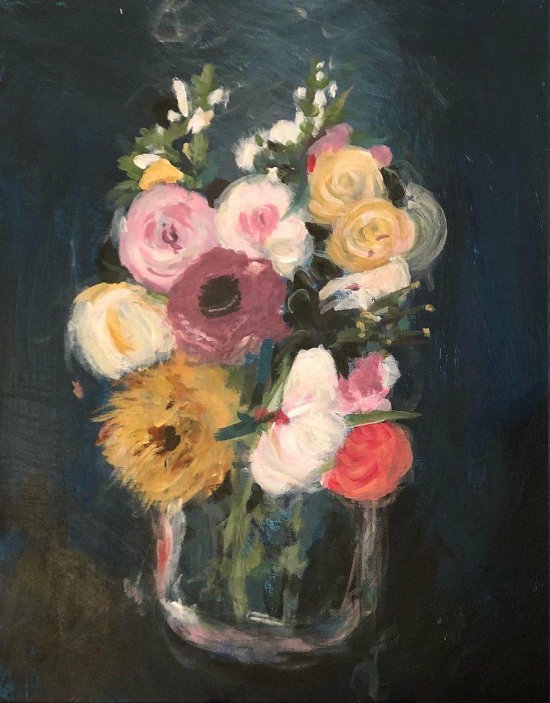 leah prusiner art bouquet acrylic on canvas