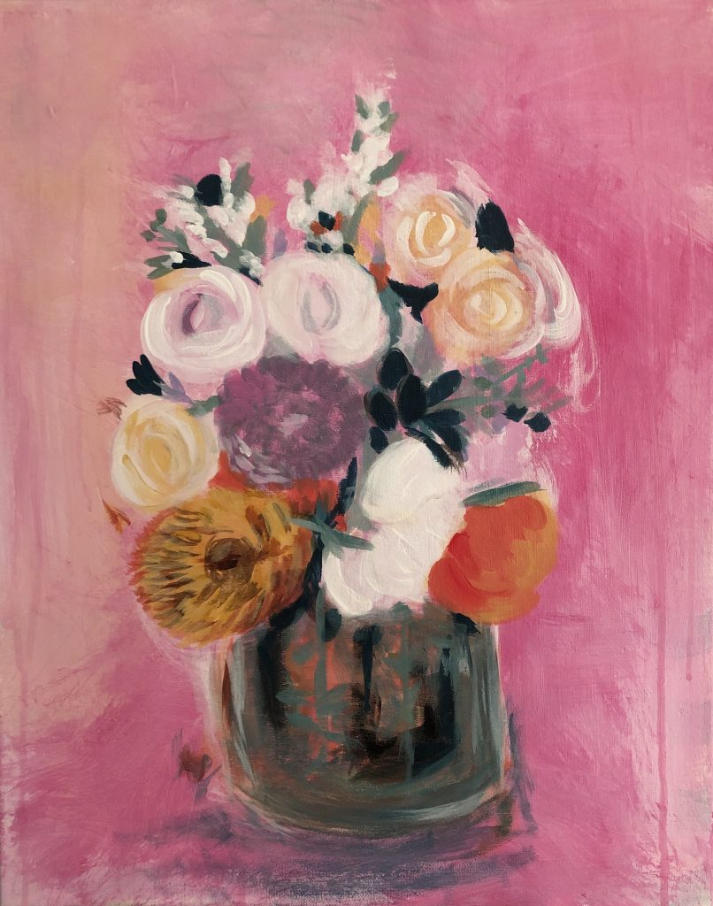 pink bouquet acrylic on canvas