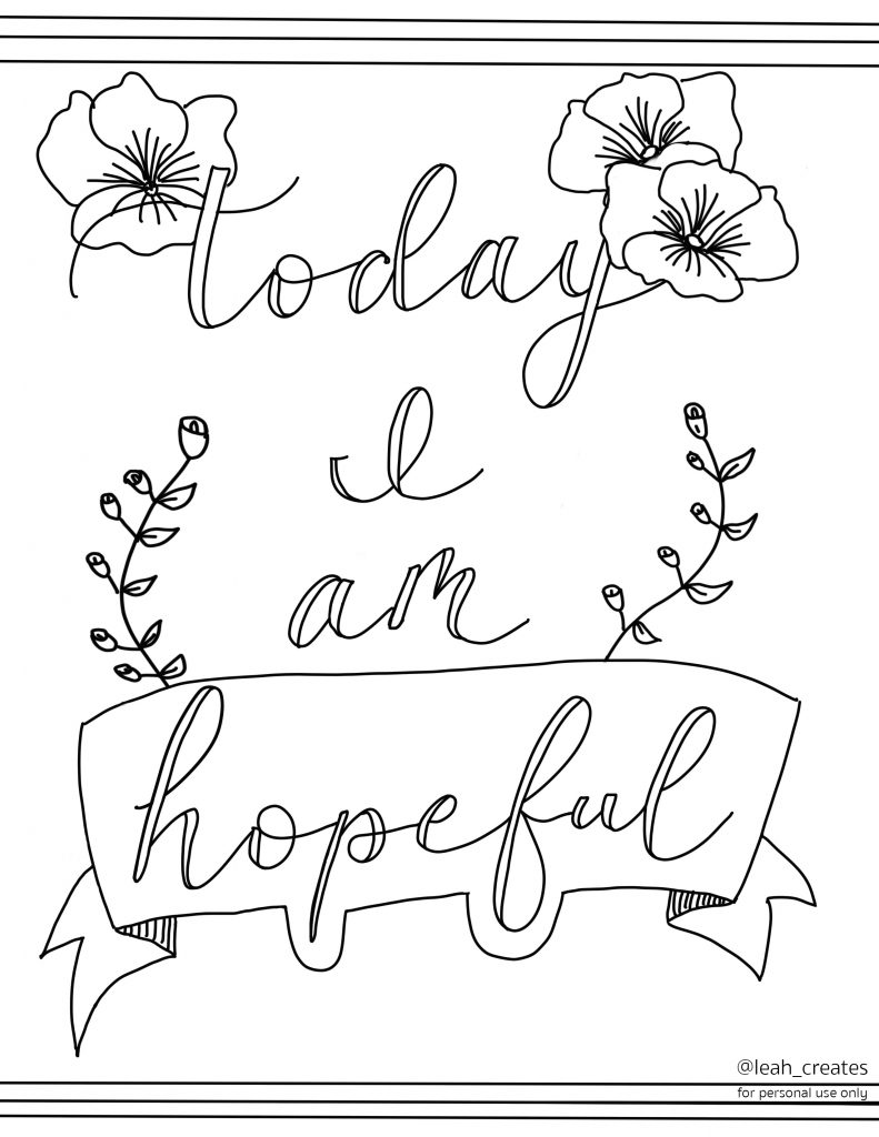 leah prusiner art coloring page today I am hopeful lettering