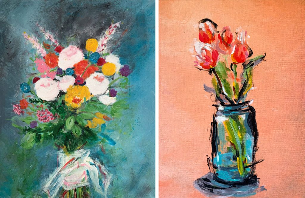 leah prusiner art abstract florals paintings acrylic